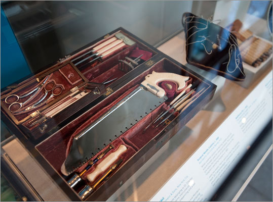 An 1845 surgical kit belonging to Dr. Charles Gordon (1809-1872), a Boston physician. The kit contains instruments for general surgery, amputating, trepanning and a set of ophthalmic instruments.