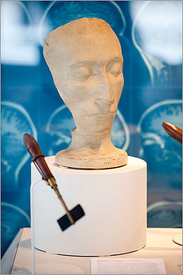 "When Johann Gaspar Spurzheim died of typhoid in 1832, the Boston Phrenological Society formed to continue his legacy — publishing, holding meetings, and maintaining and growing the phrenologist's head, face and skull cast collection. The Society was defunct by 1847 and John Collins Warren purchased the casts for his Harvard Medical School museum. Phrenology, the study of skull bumps and depressions as indicators of personality, ability, or mental health, was a popular yet erroneous early 19th century pseudo-science. Carl Maria von Weber was collected to demonstrate his large areas of ""Time, Tune, Ideality, and Wonder,"" according to the 1835 A Catalogue of Phrenological Specimens Belonging to the Boston Phrenological Society."