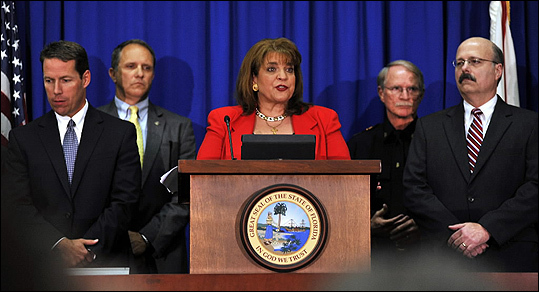 State Attorney Angela Corey, special prosecutor in the Trayvon Martin case, center, announced that George Zimmerman will be charged with second-degree murder in the shooting death of Trayvon Martin during an April 11 news conference in Jacksonville, Fla.