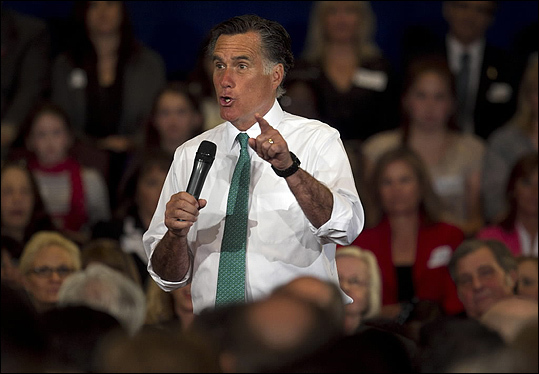 Republican presidential candidate and former Massachusetts Governor Mitt Romney spoke to a crowd during a campaign event in Warwick, R.I., April 11.