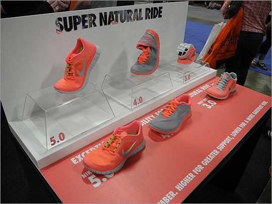 Pink Nike Free Runs were on display. The shoes are supposed to mimic the sensation of running barefoot.