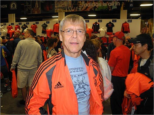 Richard Olson of Wisconsin is running his 72nd marathon, and his third in Boston. 'I'm quite excited because the last time I [ran in Boston] was 29 years ago,' he said. 'I can't do as much as I used to. I'm slower,' Olson said, adding, 'At my age I'm just happy to be able to do it.'