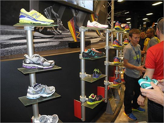 Hundreds of shoes, like these pairs from New Balance, were on display and available for purchase.