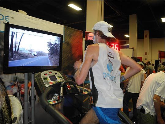 Michael Wardian ran on a treadmill in an attempt to break the treadmill marathon world record, which he previously broke in 2004. He was aiming for a 2:21:40 time.