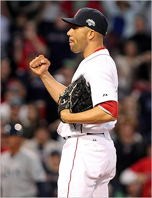 Closer Alfredo Aceves reacted after the Red Sox defeated the Tampa Bay Rays, 13-5, at Fenway Park April 14 .