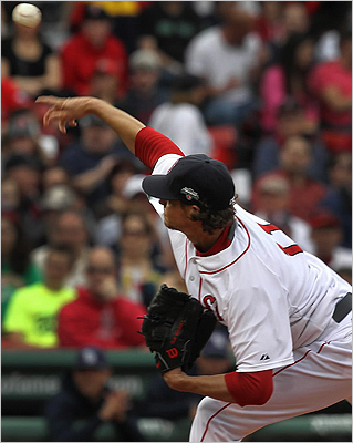 Red Sox starting pitcher Clay Buchholz had a rocky start after giving up a 3 run home run to Tampa Bay Rays left fielder Luke Scott in the first inning. Buchholz managed to settle down afterward going 7 innings and allowing 5 runs.