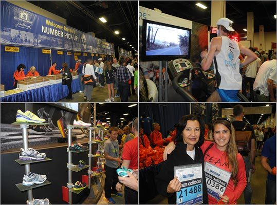 Runners and running fans alike headed to the John Hancock Sports and Fitness Expo at the Seaport World Trade Center April 13-15, where those preparing for the marathon had mostly one thing on their mind: Marathon Monday's impending heat, which is expected to reach the high 80s. Many runners stopped to chat about what they were excited for, how they got ready to run 26.2 miles, and how they will prepare for the heat. Click through for scenes from the Sports and Fitness Expo.
