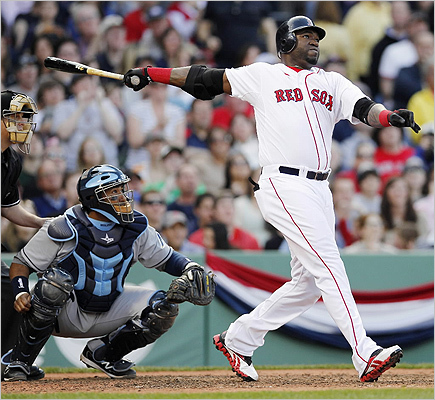 David Ortiz hit a two-run home run in front of Tampa Bay Rays' Jose Molina in the fifth inning.
