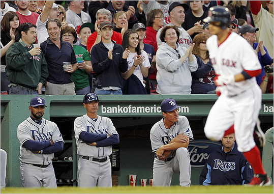 Cody Ross ran past the Tampa Bay Rays dugout on his two-run home run in the eighth inning.