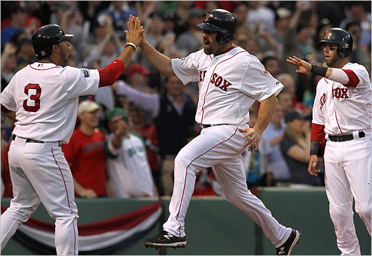 Red Sox third baseman Kevin Youkilis celebrated as he scored on an eighth inning double by designated hitter David Ortiz.