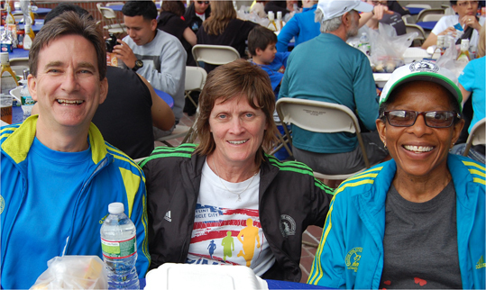 These friends from Michigan will run in their fourth Boston Marathon. From left to right are Dave Guimond, 56, Mary Aseltyne, 55, and Glenda Card, 56. Aseltyne and Card happened to finish the race at the same time last year.