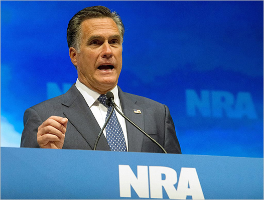 US Republican presidential hopeful Miit Romney addressed the National Rifle Association Leadership Forum on April 13.