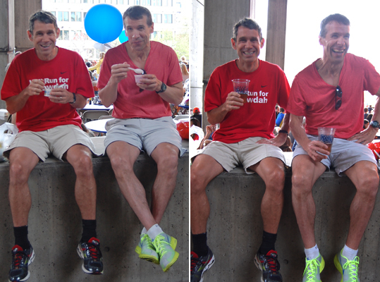 Initially photographed eating yogurt together at the Pre-Race Dinner, Michigan friends Jeff Kobinsky (left), 40, and Rick Stefanovic, 49, jokingly asked to be photographed with beers instead. For Kobinsky, it will be his seventh Boston Marathon. Stefanovic is running his 21st. 'There's no other sport like it,' said Stefanovic. 'You can't play with the professionals in the NFL. But for at least a few minutes, we're running with the elite runners in the world tomorrow.'