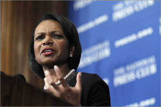 Condoleezza Rice The former secretary of state would offer both gender and racial balance to a Romney ticket. She also would offer Romney expertise where he is lacking: foreign affairs. And her work at Stanford University and its conservative Hoover Institution could also be enticing to some conservatives. But her involvement in Bush administration war policies both as national security adviser and then as head of the State Department could resurrect criticism of those policies. Former Vice President Dick Cheney, in his recent memoir, also belittled her.