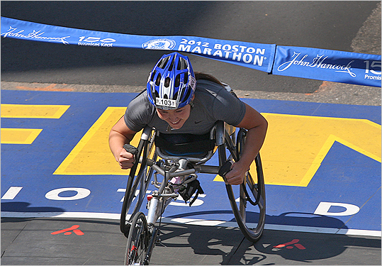 Shirley Reilly at finish line