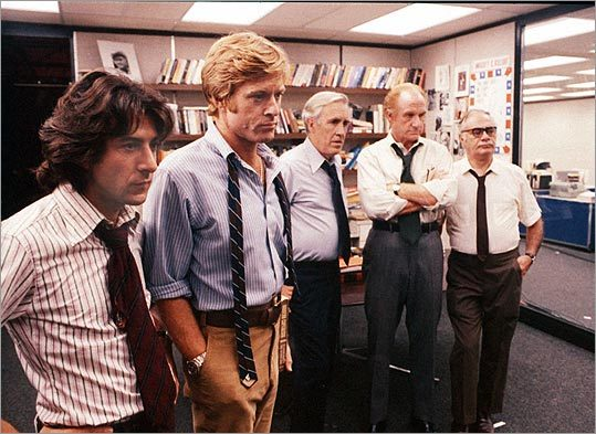 'All the President's Men' (1976) Starring Dustin Hoffman and Robert Redford In the run-up to the 1972 elections, Washington Post reporter Bob Woodward covers what seems to be a minor break-in at the Democratic Party National headquarters. When what he thought was a small incident turns out to involve Republican fund organizers, the story takes him and fellow reporter Carl Bernstein on a trail that eventually leads into the White House itself.