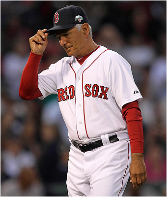 Boston Red Sox manager Bobby Valentine appeared to tip his cap to the chorus of boos from the fans during one of many pitching changes late in the game against the New York Yankees on April 21. The Yankees stormed back from a 9-run deficit on a late-game rally by scoring 13 combined runs in the seventh and eighth innings to win 15-9.