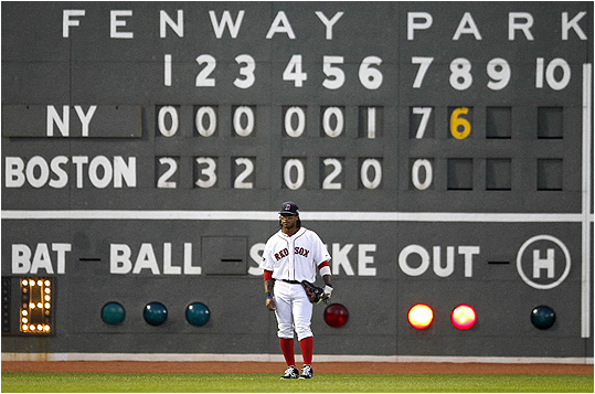April 21, 2012: Red Sox blow 9-0 lead to Yankees It was one of the worst losses in Red Sox history, against their hated rivals, on a weekend to celebrate Fenway Park's 100th anniversary. The Yankees rallied from a 9-0 deficit to beat the Red Sox, 15-9. Here, Sox left fielder Darnell McDonald stood in front of the scoreboard that displayed the onslaught of runs scored by the Yankees to take a commanding lead in the eighth inning.