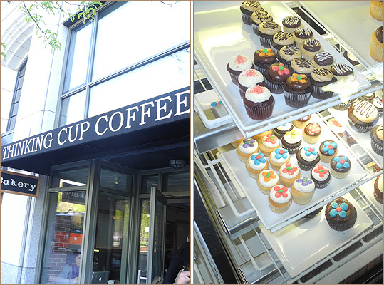 The second stop was Thinking Cup Coffee Bar, 'one of the busiest coffee shops in Boston,' said tour guide Jacqueline Bennett. Cupcake crawlers got a chance to try the cafe's vanilla vanilla cupcake, while Bennett gave them a history of the sweet treat, which is believed to have been invented around the end of the 19th century. She added that icing wasn't added to cupcakes until the 1920s, and that Hostess first added cream filling in 1950.