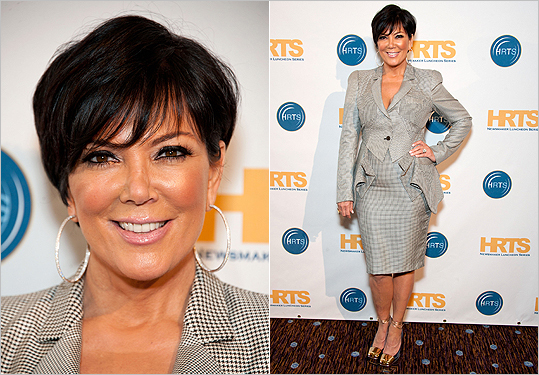 DON'T take fit for granted 'You want to make sure the length is right on your pant and skirt, don't go too short in the office environment. For skirts, have it hit the knee to be safe.' Pictured: Kris Jenner's suit tugs and tucks in all the wrong places.