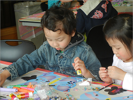 Siblings Danny, 5, and Ariel Nguyen, 7, from Dorchester decorated their butterflies.