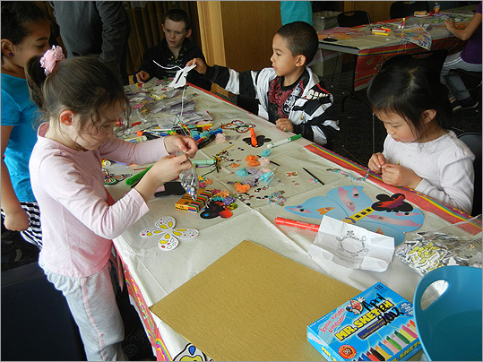 The children decorated their artwork.