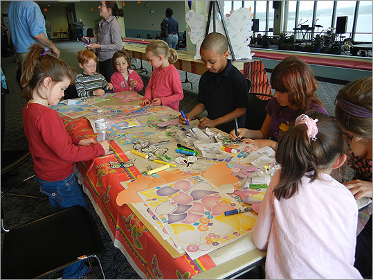 More children visited the arts and crafts table.
