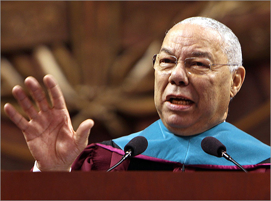 Retired General Colin Powell delivered the commencement address for Northeastern University.