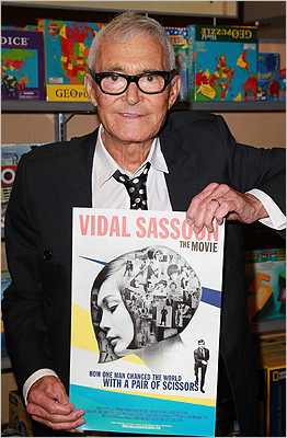 Sassoon with artwork for a film celebrating his career, 'Vidal Sassoon: The Movie,' during an appearance at Barnes & Noble in Santa Monica, Calif., on Sept. 6, 2011.