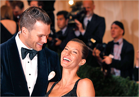 Tom Brady with Gisele Bundchen at the Metropolitan Museum of Art Costume Institute Benefit celebrating the opening of 'Schiaparelli and Prada: Impossible Conversations' exhibition in New York on May 7.
