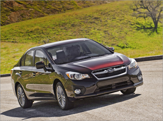2012 Subaru Impreza Sedan 2.0i Premium Most of us could live with the Impreza 2.0i, but for the Premium's extra $1,300 cost, you get cruise control, alloy wheels, Bluetooth connectivity and an upgraded audio system with iPod integration. Price: $19,795 Fuel economy: 27 mpg city and 36 mpg highway