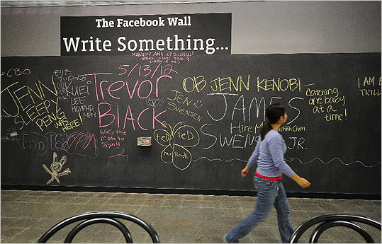 In September 2004, Facebook introduced the Wall, which allows people to write personal musings and other tidbits on profile pages. A lawsuit was also filed against Facebook claiming that Zuckerberg stole the idea for Facebook from a company co-founded by twins Cameron and Tyler Winklevoss and a third person at Harvard.