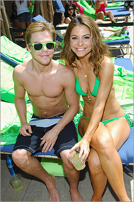 Hough and Menounos by the pool at the Bud Light Lime 'Lime-A-Rita' Cinco de Mayo party in Las Vegas on May 5.