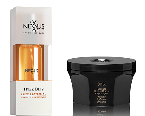 We like: Nexxus Frizz Defy Leave-in Oil Shine Treatment ($14.99, CVS store locations): We like to comb a quarter-size dollop of this lightweight oil into our hair after showering so the Argan oil and coconut extracts can penetrate strands deeply for all day hydration. Oribe Signature Moisture Masque ($59 at Barneys.com ): We suggest this extra thick luxurious hair mask paired with a shower cap and an extra long bath.