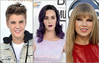 Justin Bieber, Katy Perry, Taylor Swift