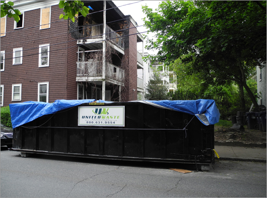 Answer: Yes Dumpsters or construction equipment on the streets must be permitted by Boston's Transportation and Public Works departments. Temporary parking restrictions necessary for the work to be carried out must be posted by the permit holder 48 hours in advance of the regulations going into effect on a residential street, and 24 hours in advance in a commercial area. Generally, there is no rule for how far away a vehicle must be parked from a dumpster or construction equipment, but use common sense so that your vehicle doesn't get damaged from the related work, and pay close attention to the posted signs.
