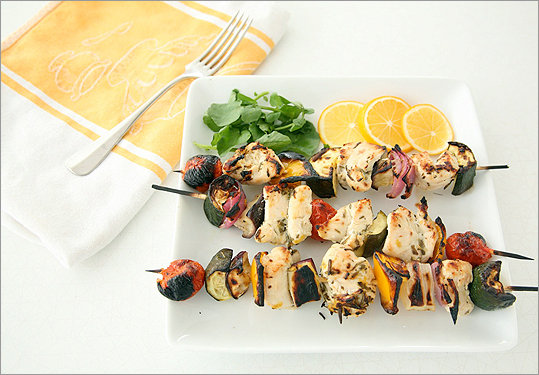 Marinated lemon-chicken kebabs