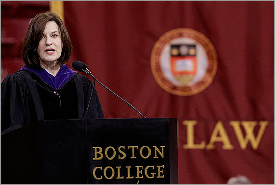 Victoria Kennedy, the widow of the late Senator Edward M. Kennedy, delivered the commencement address to Boston College Law School graduates on May 25.