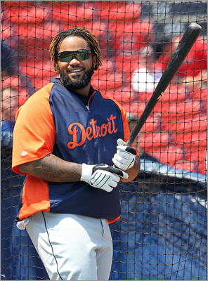 Monday, May 28 Prince Fielder of the Detroit Tigers batted before a game with the Red Sox at Fenway.