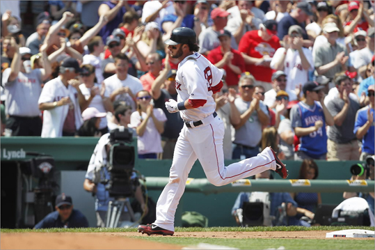 Monday, May 28 Jarrod Saltalamacchia rounded third base on a solo home run in the bottom of the third inning. It was his eighth home run of the year.