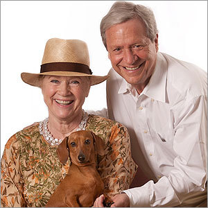 Liv Ullmann with Donald Saunders and rescue dog Chelsea (Mansion Hills Studio)
