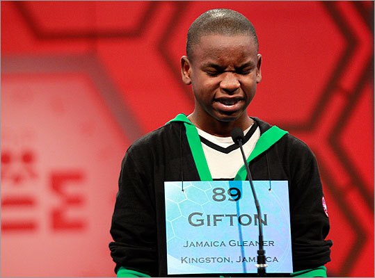 Oh no! Gifton Wright, 14, of Spanish Town, Jamaica, scrunches up his face after spelling a word incorrectly and being eliminated during the finals.