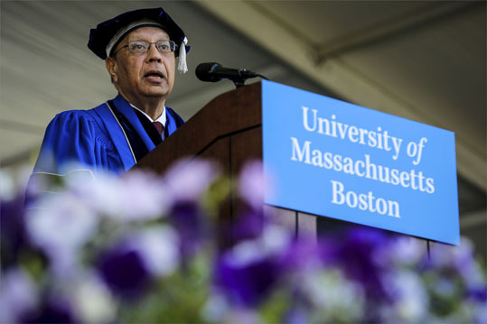Ambassador Anwarul K. Chowdhury gave the principal address during UMass' graduation.