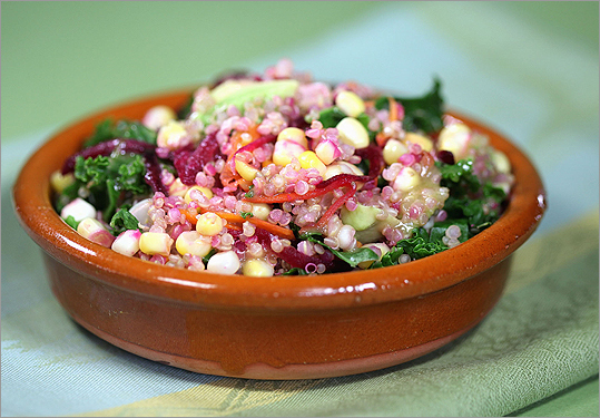 Warm quinoa salad with sesame-ginger dressing