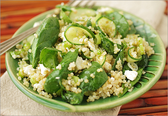 Recipe for Quinoa salad with baby spinach, feta, and scallions