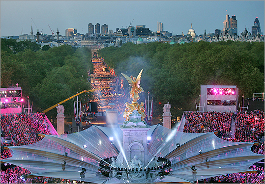 A general view of the stage and the Mall crowded with spectators of the Diamond Jubilee Concert outside Buckingham Palace on June 4.