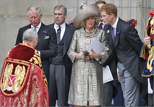 From left: Prince Charles, Prince of Wales; Prince Andrew, Duke of York; Camilla, Duchess of Cornwall; and Prince Harry after the National Service of Thanksgiving.