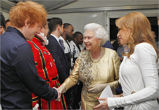 Queen Elizabeth with Ed Sheeran and Kylie Minogue