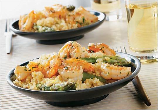 Lemon quinoa with shrimp scampi