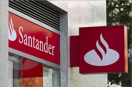 Banco Santander SA, one of Spain's biggest lenders, was cut three levels by Moody's Investor's Service, which cited a recession and mounting loan losses in downgrading 16 of the nation's banks.